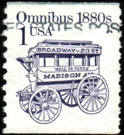 omnibus: USA - CIRCA 1983: Postage stamp printed in the USA, shows an omnibus in 1880, circa 1983