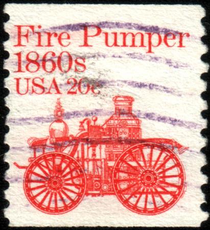 pumper: USA - CIRCA 1981: A stamp printed in USA shows Amoskeag fire pumper, 1860s, circa 1981. Editorial