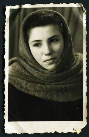 beaty: USSR - CIRCA 1953: Antique photo, studio portraiit of young beaty girl in shawl, circa 1953