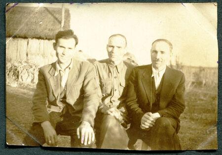 russian federation: USSR - CIRCA 1950s: An antique photo shows group portrait