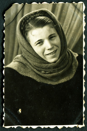 beaty: USSR - CIRCA 1974: Antique photo, studio portraiit of young beaty girl in shawl, circa 1974