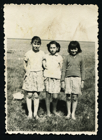 USSR - CIRCA 1960: Antique photo shows three girls,  1960