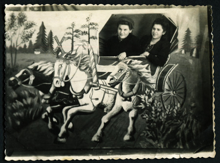 USSR - CIRCA 1953: Vintage photo shows two women in the frame, 1953