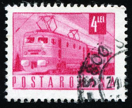 window seal: ROMANIA - CIRCA 1968: stamp printed by Romania, shows Electric train, circa 1968