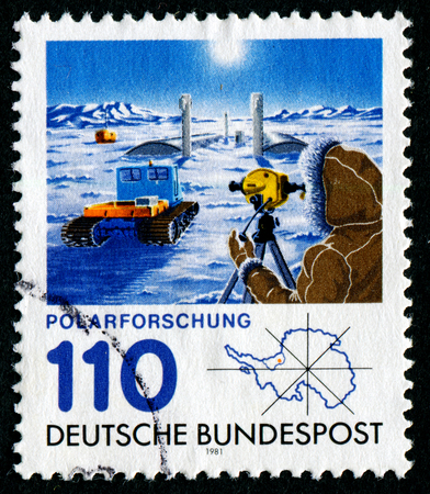 polar station: GERMANY - CIRCA 1981: a stamp printed in the Germany shows Georg von Neumayer polar research station, circa 1981