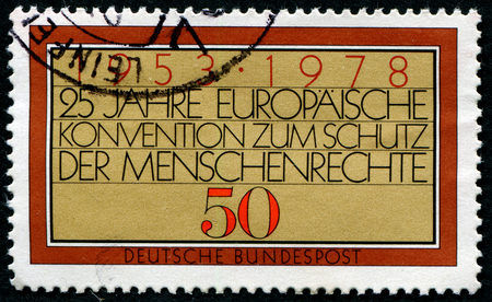 egalitarian: GERMANY - CIRCA 1978: a stamp printed in the Germany shows European Human Rights Convention, 25th Anniversary, circa 1978 Editorial