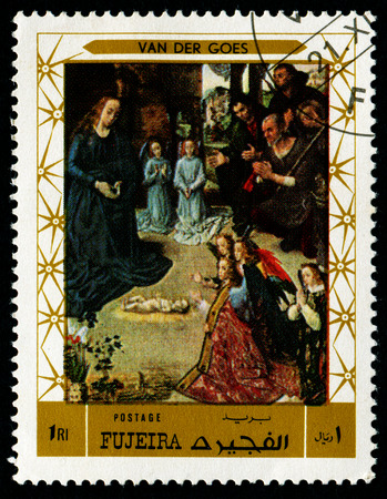 FUJEIRA - CIRCA 1972: stamp printed by Fujeira, shows a Painting by VAN DER GOES - Portinari Triptych, circa 1972