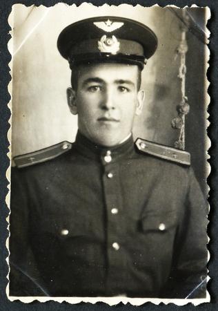 USSR - CIRCA 1950s: An antique photo shows solders portrait