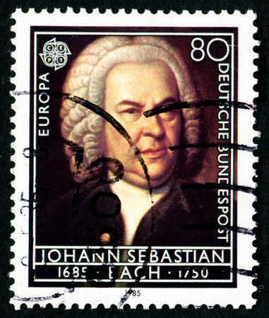 GERMANY - CIRCA 1985: A stamp printed in Germany from the Europa. Composers 300th Birth Anniversaries issue shows Johann Sebastian Bach, circa 1985.