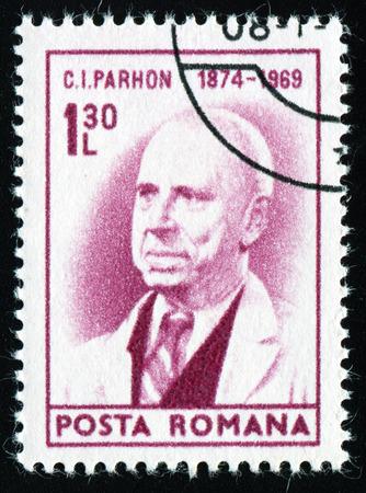 sarmiento: ROMANIA - CIRCA 1974: A stamp printed in Romania shows portrait of Constantin Ion Parhon, circa 1974.
