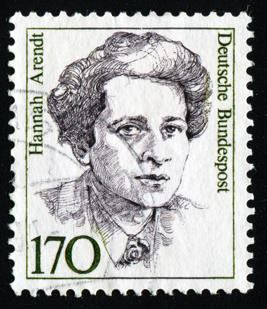 GERMANY - CIRCA 1986: A stamp printed in Germany from the Famous German Women issue shows sociologist Hannah Arendt, circa 1986.