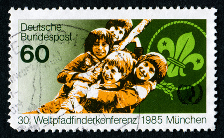 GERMANY - CIRCA 1985: A stamp printed in Germany from  shows world scout conference, circa 1985 Editorial