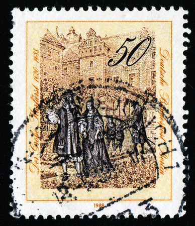 elector: GERMANY - CIRCA 1988: a stamp printed in the Germany shows The Great Elector of Brandenburg with Family in Berlin Castle Gardens, 1688, circa 1988