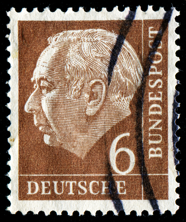 bundespost: FEDERAL REPUBLIC OF GERMANY - CIRCA 1951: A stamp printed in the Federal Republic of Germany shows 6 deutschmarks, series, circa 1951 Editorial