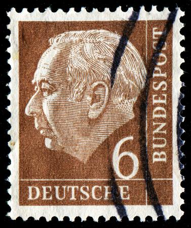 FEDERAL REPUBLIC OF GERMANY - CIRCA 1951: A stamp printed in the Federal Republic of Germany shows 6 deutschmarks, series, circa 1951 Editorial