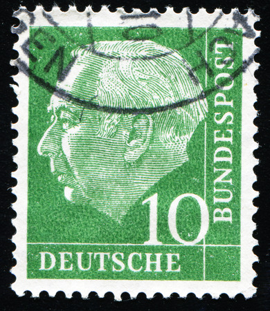 bundespost: FEDERAL REPUBLIC OF GERMANY - CIRCA 1951: A stamp printed in the Federal Republic of Germany shows 10 deutschmarks, series, circa 1951