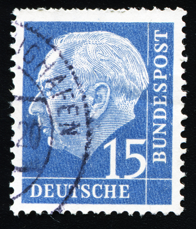 bundespost: FEDERAL REPUBLIC OF GERMANY - CIRCA 1951: A stamp printed in the Federal Republic of Germany shows 15 deutschmarks, series, circa 1951