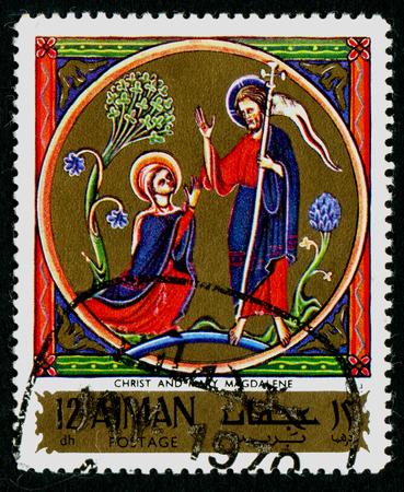 AJMAN - CIRCA 1976: stamp printed by Ajman, shows Christ and Mary Magdalene, circa 1976