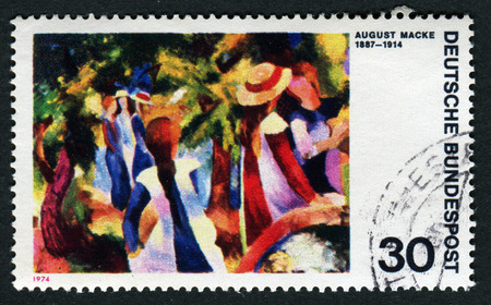 FEDERAL REPUBLIC OF GERMANY - CIRCA 1974: A postage stamp printed in the West Germany shows painting Girls In The Forest by August Macke, circa 1974
