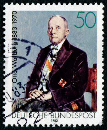 physiologist: GERMANY - CIRCA 1983: A stamp printed in Germany shows Otto Heinrich Warburg - German physiologist, medical doctor and Nobel laureate, circa 1983