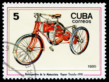 CUBA - CIRCA 1985: A stamp printed in the Cuba, shows vintage motorcycle, circa 1985