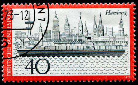 GERMANY- CIRCA 1973: stamp printed by Germany, shows Hamburg harbor, circa 1973.