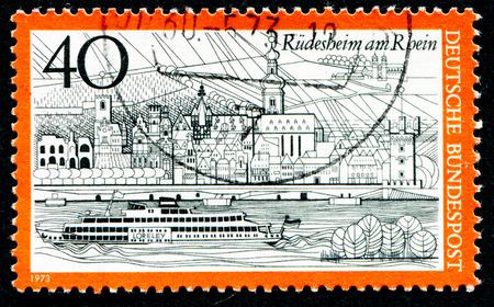rudesheim: GERMANY - CIRCA 1973: a stamp printed in the Germany shows View of Rudesheim am Rhein, Germany, circa 1973