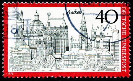 bundes: GERMANY - CIRCA 1973: A stamp printed in Germany from the Tourism issue shows Aachen, circa 1973. Editorial