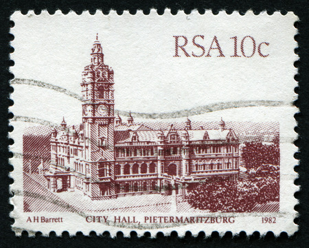 rsa: REPUBLIC OF SOUTH AFRICA - CIRCA 1982: A stamp printed in South Africa shows image of City Hall building in Pietermaritzburg, circa 1982 Editorial