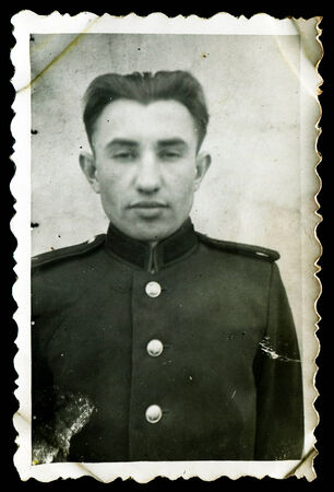 solders: USSR - CIRCA 1950s: An antique photo shows young solders portrait, 1950s