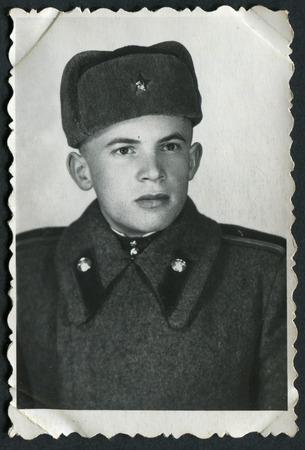 USSR - CIRCA 1950s: An antique photo shows young solders portrait, 1950s