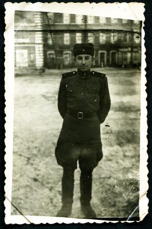 solders: USSR - CIRCA 1950s: An antique photo shows solders portrait