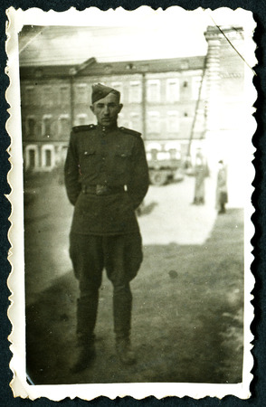 solders: USSR - CIRCA 1950s: An antique photo shows solders portrait
