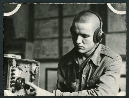USSR - CIRCA 1960s: An antique photo shows soldiers radioman, USSR, circa 1960s