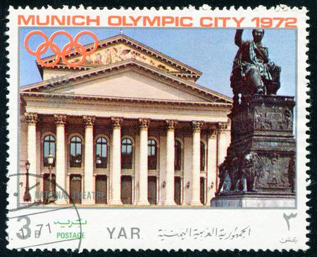 olympic symbol: YEMEN - CIRCA 1972: a stamp printed by Yemen shows MUNICH OLYMPIC CITY, circa 1972
