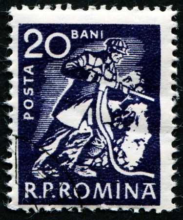 stempeln: ROMANIA - CIRCA 1960: A stamp printed in Romania shows a Miner, circa 1960.
