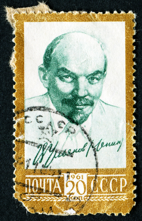 totalitarianism: USSR - CIRCA 1961: A stamp printed in the USSR, shows a portrait of Vladimir Lenin (Ulyanov), circa 1961 Editorial