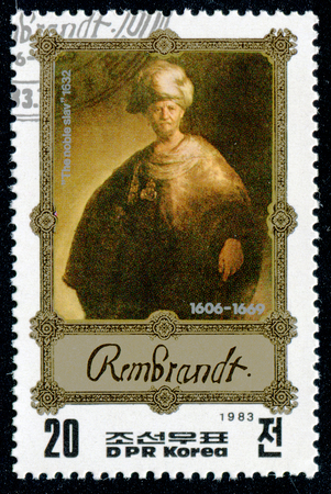 rembrandt: DPR Korea - CIRCA 1983: A post stamp printed in USSR and shows Rembrandt painting  the noble slav. Circa1983 Editorial