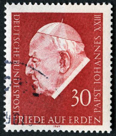 GERMANY - CIRCA 1969: A stamp printed in Germany shows Pope John XXIII, circa 1969 Editorial