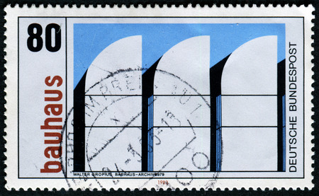 bauhaus: GERMANY - CIRCA 1983: a stamp printed in the Germany shows Bauhaus Archives, Berlin, 1979, Bauhaus Architecture, circa 1983