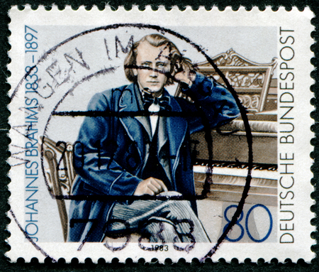 johannes: GERMANY - CIRCA 1983: A stamp printed in Germany shows Johannes Brahms, Composer, circa 1983