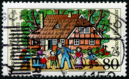 bundespost: FEDERAL REPUBLIC OF GERMANY - CIRCA 1983: A stamp printed in the Federal Republic of Germany shows Das Rauhe Haus Hamburg, gegründet 1833, circa 1983 Editorial