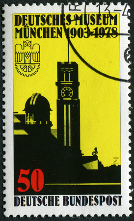 natural sciences: GERMANY - CIRCA 1978: A stamp printed in the Germany shows German Museum for Natural Sciences and Technology, Munich, 75th Anniversary, circa 1978 Editorial