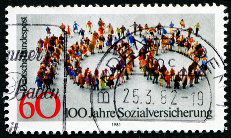 GERMANY- CIRCA 1982: stamp printed by Germany, shows flash mob and inscription 100 years of social, circa 1982.