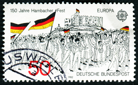 GERMANY - CIRCA 1982: A stamp printed in Germany from the Europa issue shows the rally to Hambach Castle, 1832 (wood engraving), circa 1982. Editorial