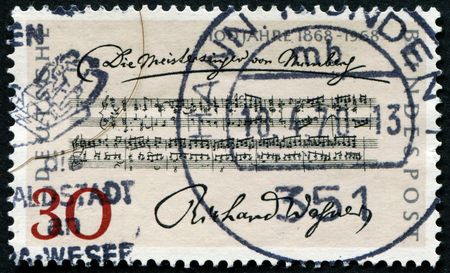 GERMANY - CIRCA 1968: A stamp printed in German Federal Republic issued for the Centenary of 1st Performance of Richard Wagners Opera The Mastersingers , circa 1968