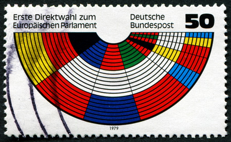 direct mail: GERMANY - CIRCA 1979: a stamp printed in the Germany shows Parliament Benches in Flag Colors of Members, European Parliament, First Direct Elections, circa 1979 Editorial