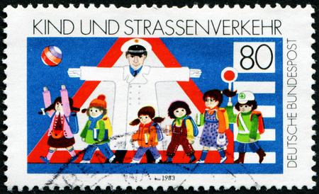 GERMANY - CIRCA 1983: a stamp printed in the Germany shows Children and Road Safety, circa 1983
