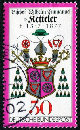 GERMANY - CIRCA 1977: stamp printed in Germany, shows Bishop Kettelers Coat of Arms, circa 1977.