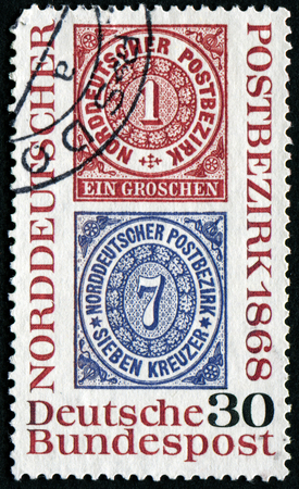 confederation: GERMANY - CIRCA 1968: a stamp printed in the Germany shows Reproduction of stamps of the North German Postal Confederation, circa 1968 Editorial